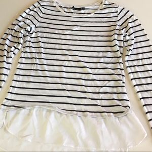 Apt. 9 White and Black Striped Long Sleeve Tee